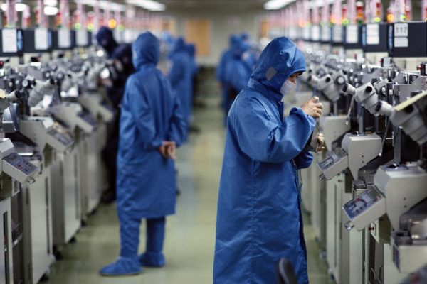 2001, Hong Kong, China --- Chip Manufacturing Factory for Motorola Cell Phones --- Image by © George Steinmetz/Corbis